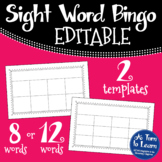 Editable Sight Word Bingo Game