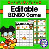 Editable Sight Word Bingo Game - Candy Corn Halloween Bingo
