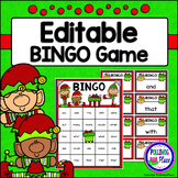 Editable Sight Word Bingo Game - Christmas Elves Bingo