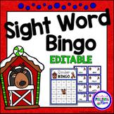 Editable Sight Word Bingo Game - Christmas Reindeer