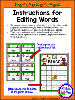Editable Sight Word Bingo Game - Fall Bingo