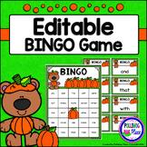 Editable Sight Word Bingo Game - Pumpkin Patch Bears Bingo