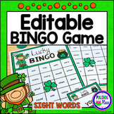 Editable Sight Word Bingo Game - St. Patrick's Day Bingo
