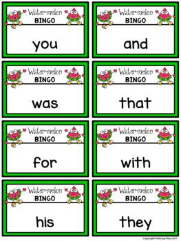 Editable Sight Word Bingo Game - Summer Watermelon Fun