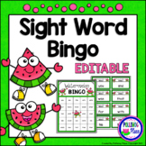 Editable Sight Word Bingo Game - Summer Watermelon Fun
