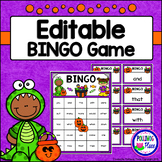 Editable Sight Word Bingo Game - Trick or Treat Halloween Bingo
