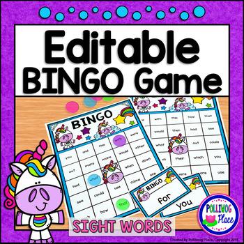 Editable Sight Word Bingo Game - Unicorn Bingo