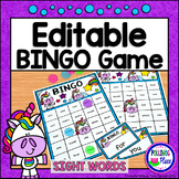 Editable Sight Word Bingo Game - Unicorn Bingo