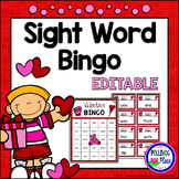 Editable Sight Word Bingo Game - Valentine Bingo