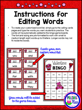 Editable Sight Word Bingo Game - Valentine Bingo