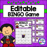 Editable Sight Word Bingo Game - Vampires and Bats Hallowe