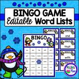 Editable Sight Word Bingo Game - Winter Penguins