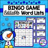 Editable Sight Word Bingo Game - Winter Snowmen Bingo