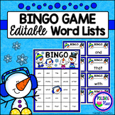 Editable Sight Word Bingo Game - Winter Snowmen Bingo