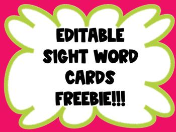 Editable Sight Word Cards