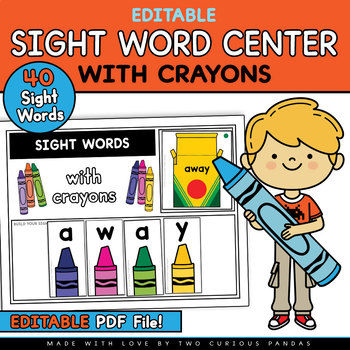 Editable Sight Word Center with Crayons