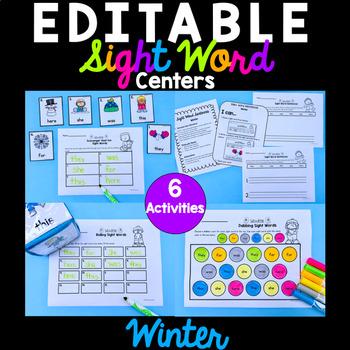 Winter Editable Sight Word Activities