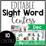 Editable Sight Word Centers for December