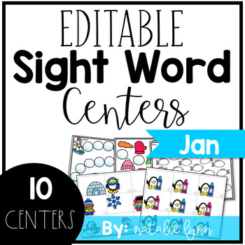 Editable Sight Word Centers for January