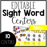 Editable Sight Word Centers for November