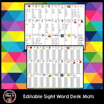 Editable Sight Word Desk Mat