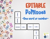 Editable Dominos | Math Center Game | Reading Activity | Sight Word Practice