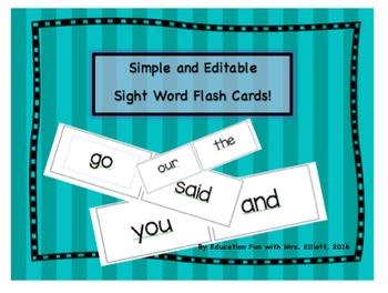 Editable Sight Word Flash Cards