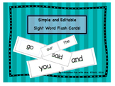 Editable Sight Word Flash Cards