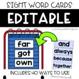 Editable Sight Word Flash Cards, Word Wall, Kindergarten S