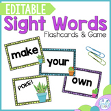 Editable Sight Word Flashcards and Game