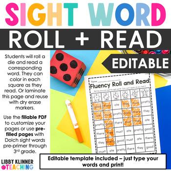 Editable Sight Word Fluency Roll and Read