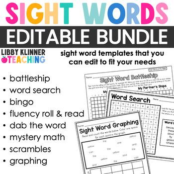 Editable Sight Word GROWING Bundle