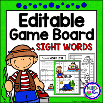 Editable Sight Word Game Board - Summer Camping