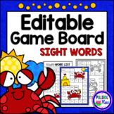 Editable Sight Word Game Board - Summer Crabs