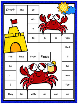 Editable Sight Word Game Board - Summer Crabs