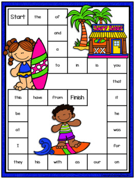 Editable Sight Word Game Board - Summer Surfing Fun