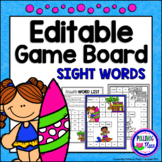 Editable Sight Word Game Board - Summer Surfing Fun