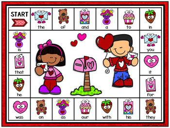 Editable Sight Word Game Board - Valentine's Day Read and Match Game