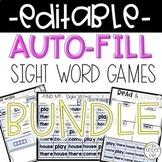 Editable Sight Word Games Auto-Fill BUNDLE