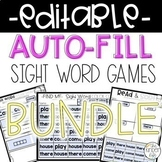 Editable Sight Word Games Auto-Fill BUNDLE Distance Learning
