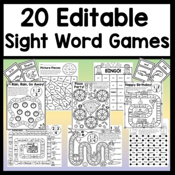 Editable Sight Word Games {Auto-Fill 6 Games!} {Editable Game Boards}