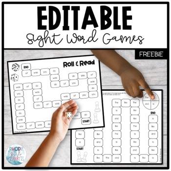 Sight Word Games Freebie: Editable