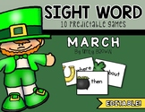 Editable Sight Word Games // March Edition