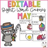 Editable Sight Word Games - May