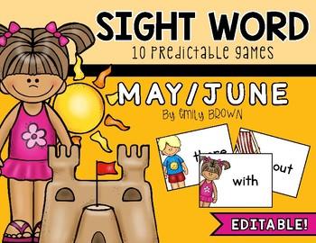 Editable Sight Word Games // May/Summer Edition