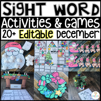 Christmas Sight Word Games Printables Activities Editable Holiday
