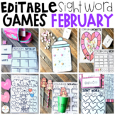 Editable Sight Word Games, Printables & Activities February (Valentine's Day)