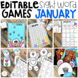 Editable Sight Word Games, Printables & Activities January (Snowman, Winter)