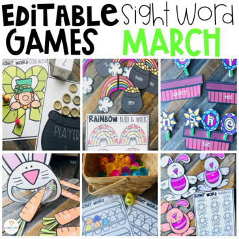 Editable Sight Word Games for Kindergarten March Themes:  Spring, Weather, Eggs