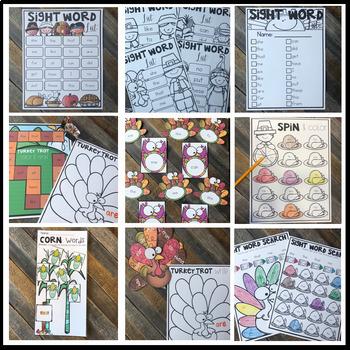 Editable Sight Word Games, Printables & Activities November (Thanksgiving)